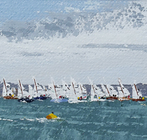 Tide's turned and the x fleet start to the west. Cowes Week