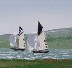 Two old gaffers race along the coast off Lymington, from Pylewell Point