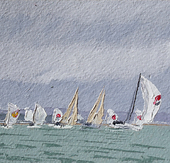 Premier Flair leads in to Gurnard fine reaching under spinnaker