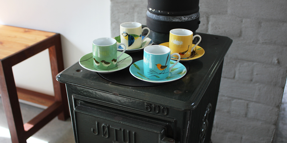 Coffee Cups with Birds on Woodburnng Stove
