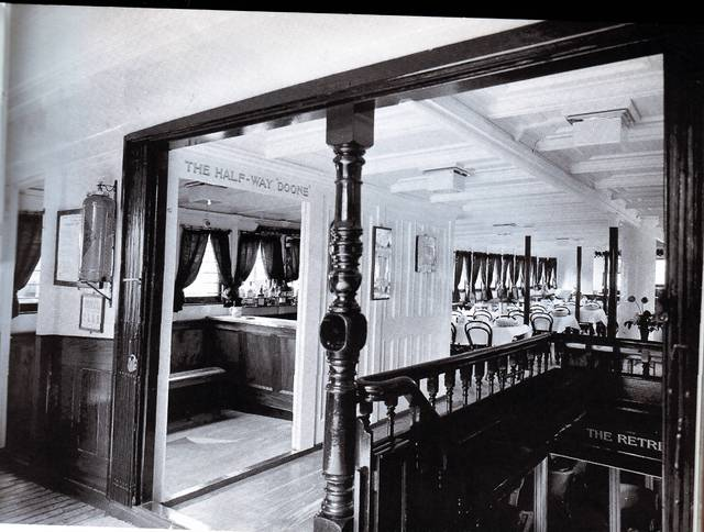 "Interior of Red Funnel's Lorna Doone (the ""Halfway Doone"")."