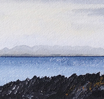 Jagged rocks and Jura, from the bay by the old Mill, Gigha