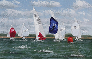 The lead Etchell drops her spinnaker to round the mark. Etchell Nationals