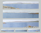 Calm summer morning from the rocks, north Gigha - Triptych