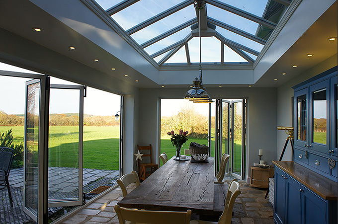 Orangery with two sets of bi-folding doors