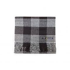 Plaid Black Baby Alpaca Brushed scarf