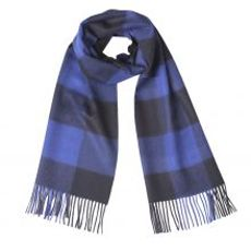 Giant Check Baby Alpaca Scarf Navy