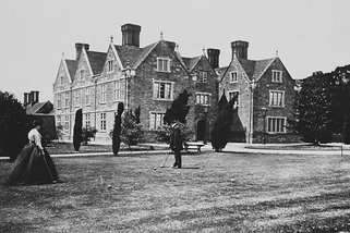 Barton Manor with Mr and Mrs Tolland playing croquet, c.1880