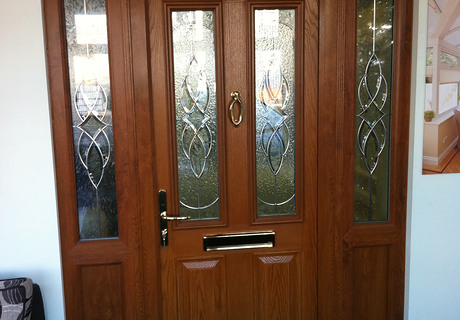 Oak Effect Composite Front Door with side lights.