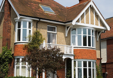White Pvc-u windows and bay windows.