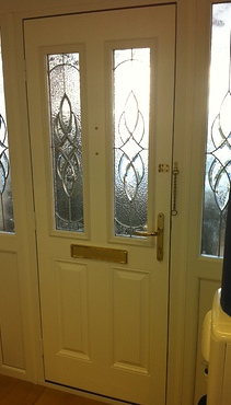 Inside white composite front door