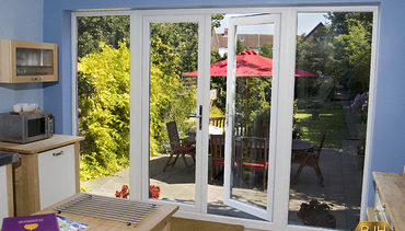 Wide French Doors in white PVCu