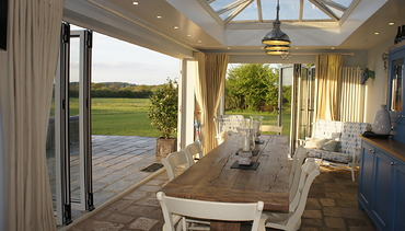 Orangery with tow sets of bi-folding doors