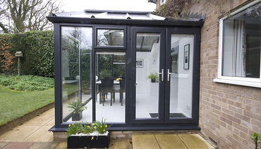 Side view of grey conservatory