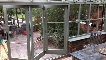 Conservatory bi-folding doors.