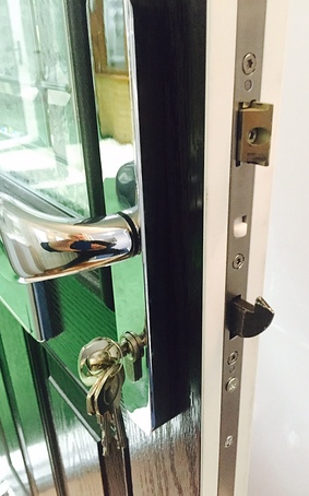 Composite door mechanism and chrome door furniture