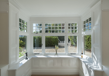 Internal shot of a square bay window fitted with R9 windows