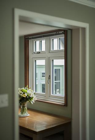 Black Composite Front Door With Flanking Cream Pvc U