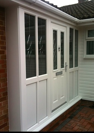 White Pvc U Porch With White Georgian Bars Traditional