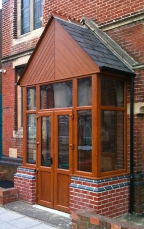 Dark wood effect porch