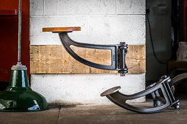 Indy Swing Arm Stool in Black with Douglas Fir Seat