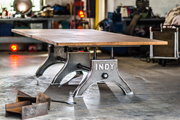 Indy Conference Table in Self-Colour Steel with Solid Oak Hard Wax Oil Finish