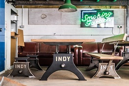 Indy Table in Chemical Black with Birch Ply Top