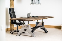 Indy Custom Table in Chrome with Sandblasted Oak Top, Worn Hard Wax Oil Finish