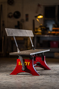 Indy Reversible Bench in Red with Sand blasted Oak, Scirocco finish