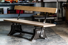 Indy Reversible Bench in Self-Colour Steel with Birch Ply