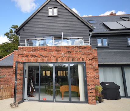 Bi-folding Doors, French Doors to Balcony and Windows in grey