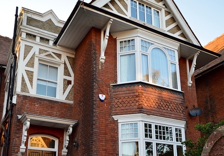 Edwardian House with decorative replacement double glazed windows.