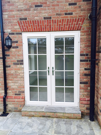 Cream Grained Wood Effect PVC-u French Doors