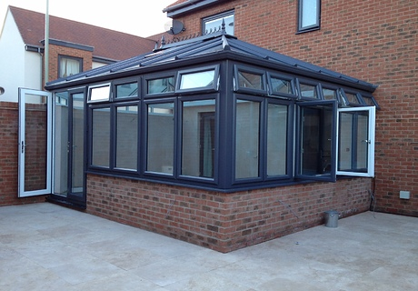 Grey Pvc-u Contemporary Conservatory with White Pvc-u internally