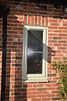 Double glazed bathroom window with frosted glass in Putty colour Pvc-u colour choice.