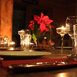 Candle-lit restaurant