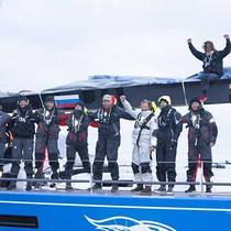 Bronenosec celebrates finishing in Warnemunde