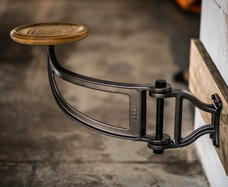 Indy Swing Arm Stool with Dished Ash Seat