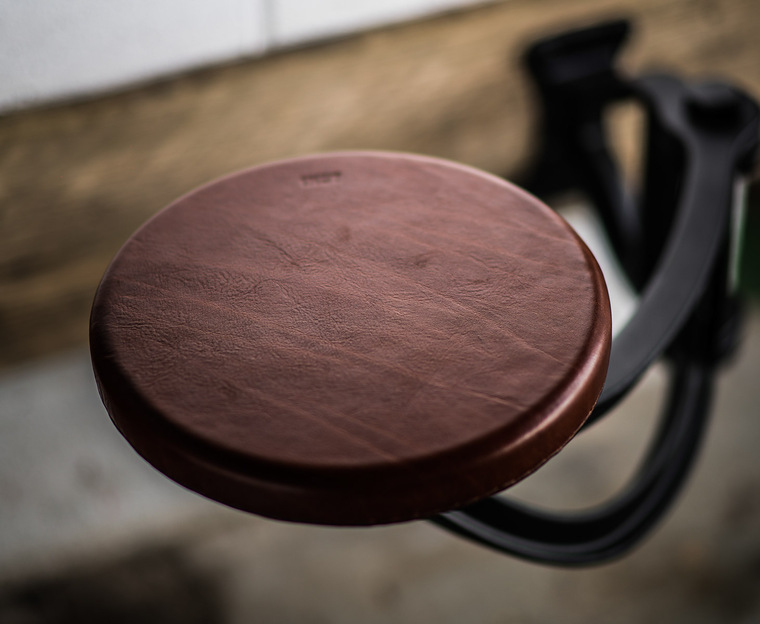 Indy Swing Arm Stool with Leather Seat
