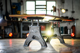Indy Table Thin in Self Colour Steel with Oak Top