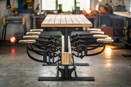 Indy Swing Arm Stool Table Seats Open
