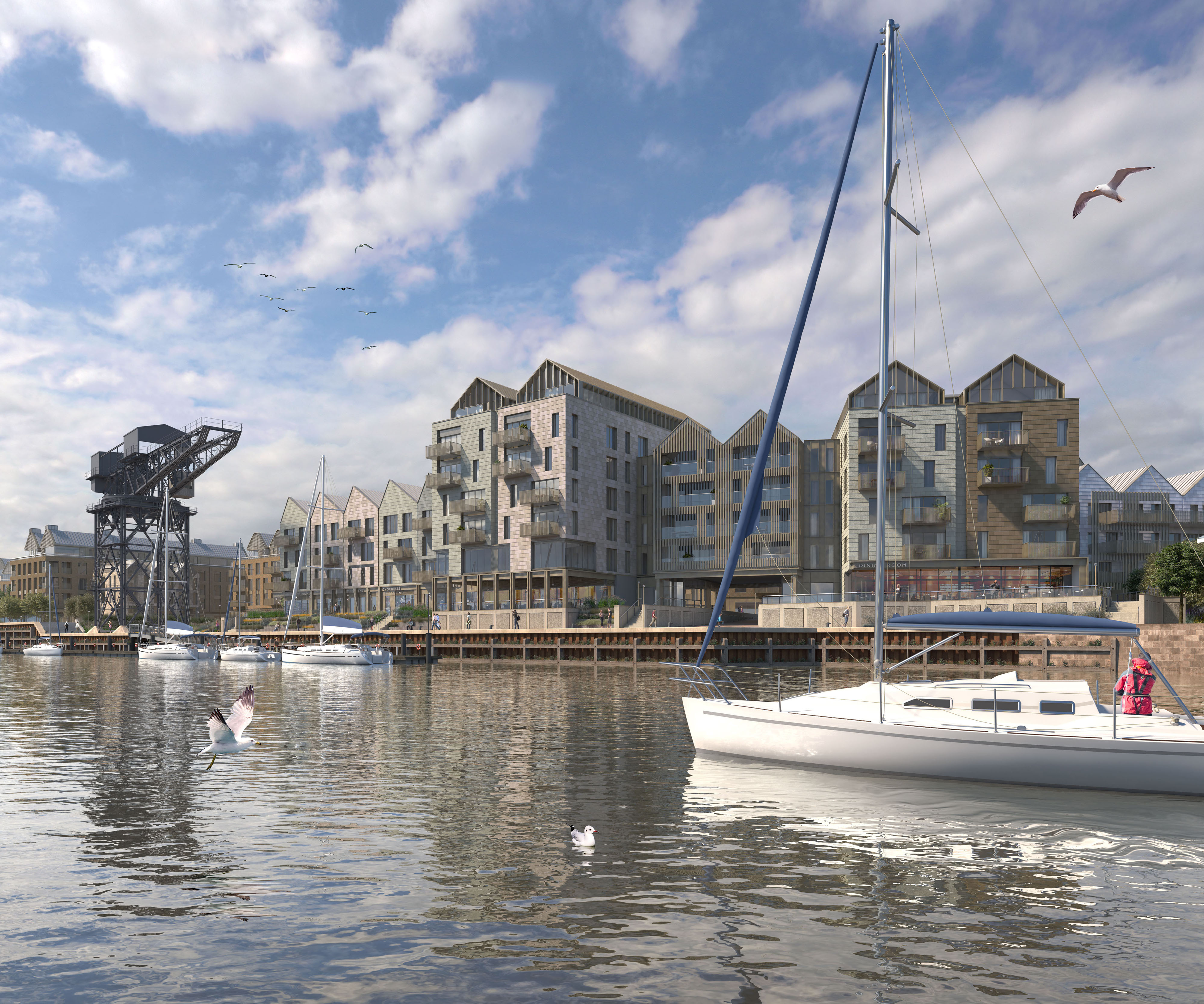 Artist's impression of the waterfront looking towards Hammerhead Crane