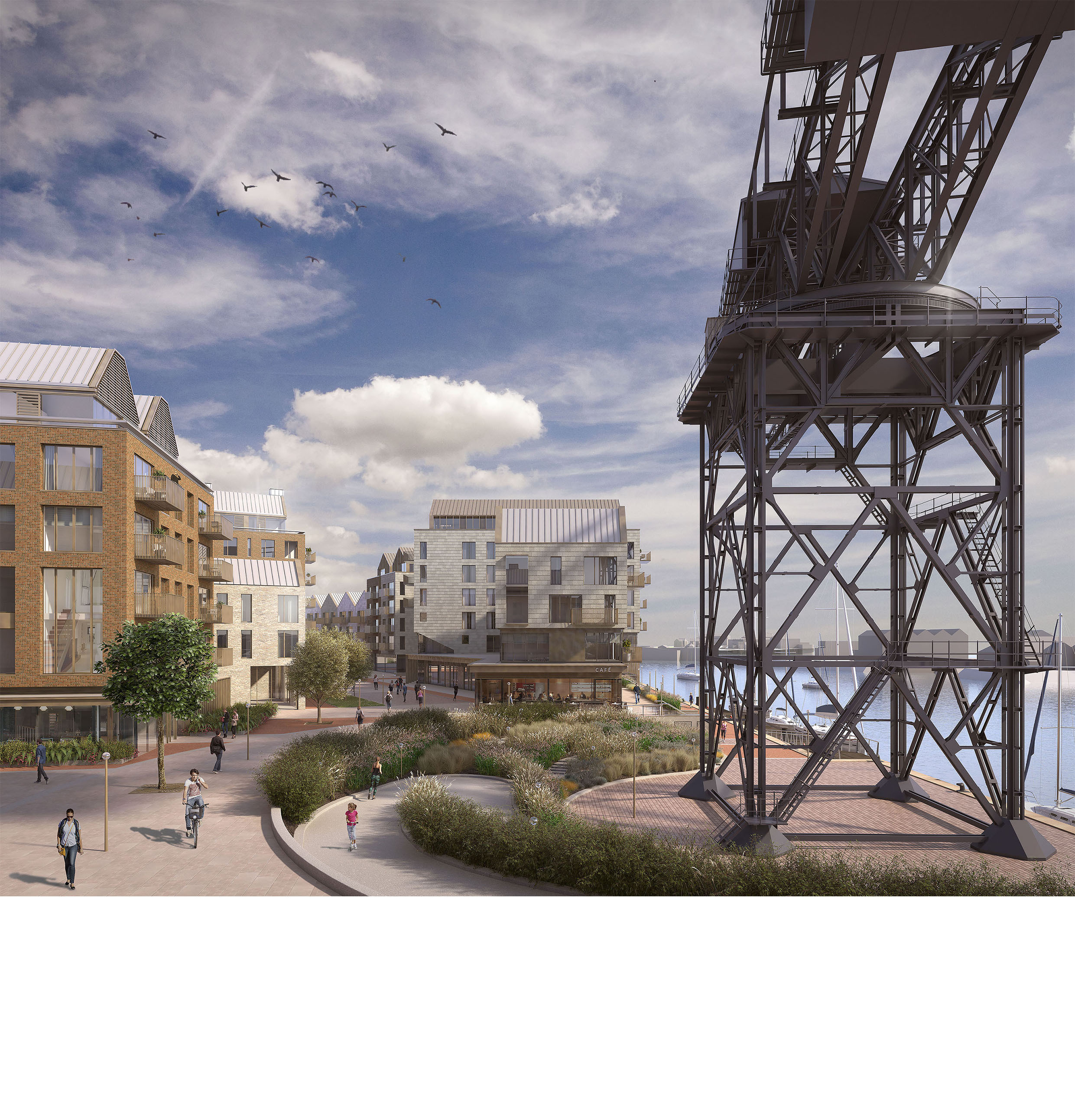 Artist's impression of Hammerhead Square looking north towards entrance lane