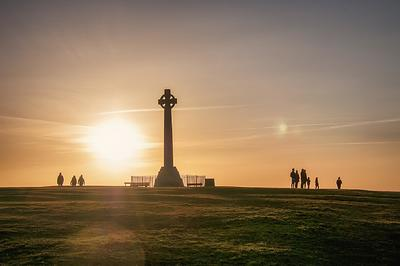 walkers at sunset, Tennyson Down, Isle of Wight