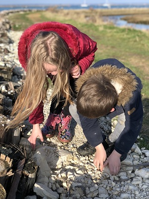children at Newtown estuary, Isle of Wight