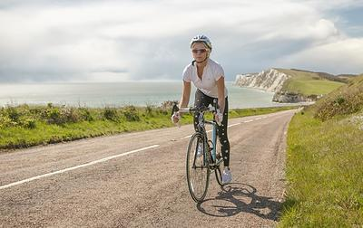 cycling on coastal road, West Wight