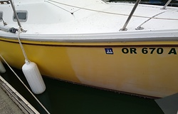 Picture of a yellow hull partially waxed, chalky white vs yellow and a bit shiny